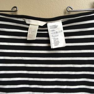 H&M jersey double-lined striped pencil skirt